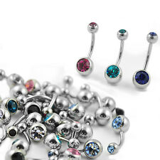 Wholesale Pack 100pcs Surgical Steel Jeweled Belly Ring w/ Two Colored Stones
