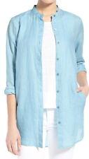 Eileen Fisher Windflower Mandarin Collar Organic Linen Tunic Size Petite Large