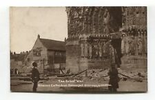 Rheims, France - First World War shell damage by Cathedral - real photo postcard