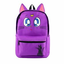 Sailor Moon Luna Purple Cat Backpack Satchel Canvas School Shoulder Bag Gift