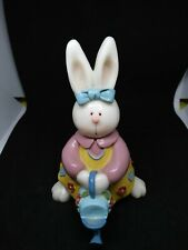 Collectible handpainted, bunny rabbit figurine holding watering can