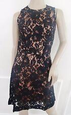 French Connection Heartbreaker lace Cocktail Sheath Dress  Sz 2 Black Nude $188