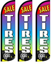 Tires Sale Multicolor Windless Standard Size Swooper Flag Sign Banner Pk of 3