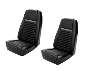 1970 Mach I Highback Seat Cover Upholstery Set - Front - Black w/Gray Stripe