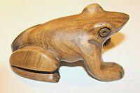 Vintage Hand Carved Ironwood Frog Toad Figurine Smooth Statue Art Wood EUC