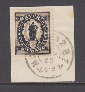 Bavaria Sc 255, Mi 190, used 1920 2½m Madonna & Child Steindruck on small piece