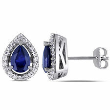 Amour Sterling Silver Created Blue and White Sapphire Teardrop Earrings