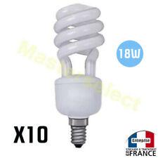 10 x Ampoule A Economie D'Energie Spirale E14 18w De Couleur Blanc Petit Culot