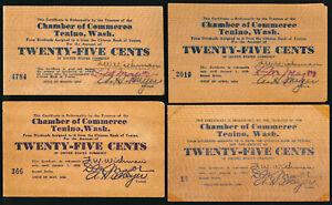 ^^RARE^^ 4 TENINO WASHINGTON WOODEN 25¢ (MAR/APR/MAY/AUG 1932) NO RESERVE