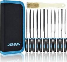 Libraton 13Pcs Premium Grade Needle File Set with Carry Case Includes 6 Steel Fi