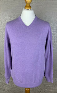 C. COMBERTI Herren Gr. M 48-50 Strickpullover lila 100% Baumwolle V-Neck 504