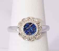 2577- 14K WHITE GOLD  SAPPHIRE & DIAMOND 0.82TCW 3.00 GRAMS SZ 7.75 RING