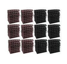 "96 pc Acoustic Foam Pyramid ROSY BEIGE & GRAY 12x12x2"" Studio Soundproofing tile"