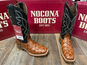Men's Go Round Fish Print square toe western boot by Nocona. Cognac