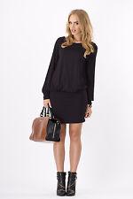 Elegant Women's Mini Dress Boat Neck Long Sleeve Tunic Top Sizes 8-18 8998