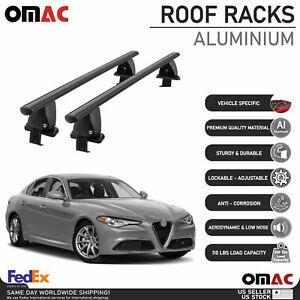 Fits Alfa Romeo Giulia 2017-2021 Smooth Roof Rack Cross Bar Carrier Rail Black