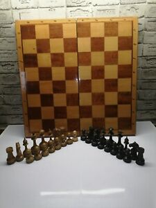 Vintage Chess and chessboard of the Soviet Union (wooden). USSR 1950-60 year