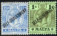 Malta 1922 Self-Government part set multi-crown CA perf 14 mint SG107/110