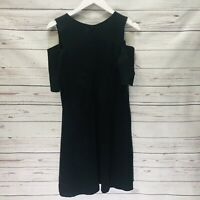 Necessary Objects Black Cold Shoulder Dress Large A-Line Short Sleeve New