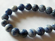 50pcs 8mm Round Natural Gemstone Beads - Blue Spot Stone (Jasper)