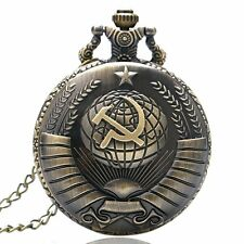 Retro Soviet Sickle hammer Style Bronze Quartz Pocket Watch Chain Mens Xmas Gift