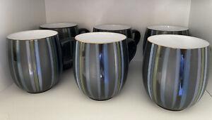 Denby Jet Stripes Large Mugs x6