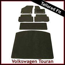VW Touran Mk1 2003-2010 Clips Redondo a Medida Alfombra Alfombrillas de arranque para automóviles y equipada Negro