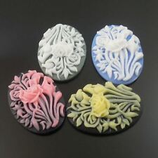 Mixed Colored Flowers Resin Cabs Cabochon Cameo 25*18*6mm 20pcs