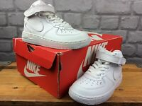 NIKE AIR FORCE 1 MID WHITE LEATHER BASKETBALL TRAINERS CHILDRENS RRP £60