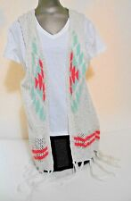 charlotte russe White Pink Gree Lace Pattern Fringed Cotton Vest Sweater Size M