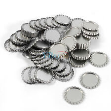 "Flat 1"" Silver Linerless Flattened Bottle Caps Hair Bow Craft DIY NO Hole100Pcs"