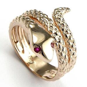 14k Rose Gold Snake Ruby Eye Serpent handmade Ring