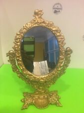 Vintage Ornate Solid Brass Tilting Vanity Mirror With Trinket Jewelry Holder