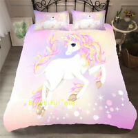 Single/Double/Queen/King Bed Quilt/Doona/Duvet Cover Set Pink Unicorn Pillowcase