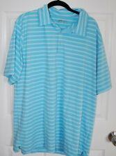 New Nike Golf Blue White Xl Stripe Mens Short Sleeve Shirt Fitdry Nwot Poly S/S