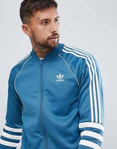 Adidas Originals 3 Stripes Superstar Blue White Track Jacket Men Size S DJ2857
