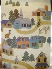Holiday Seasonal Card Special Greetings Town Snow Fall Fun Folk Post Vintage