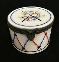 Vintage LIMOGES FRANCE Peint Main P.V. •Hand-painted DRUM Hinged Trinket Box•EUC
