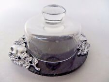 """Lenox Marble Cheese Plate Platter Metal Fruits Flowers Glass Dome 9"""""""