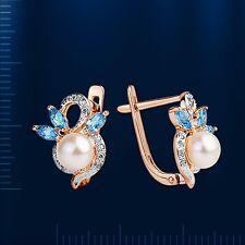 Russische Rose Rotgold 585 kleine Ohrringe mit  Perlen & Topas PEARL EARRINGS