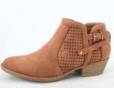 New Women's Stylish Almond Toe Buckle Zipper Low Heel Booties Shoes Size 5 - 11