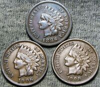 1886 1906 1908 Indian Cent Penny US Coin ---- Nice Lot ---- #D984