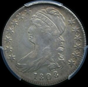 1808 bust half dollar early type PCGS XF40 w/luster peaking through