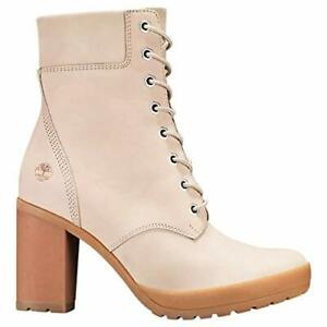 "TIMBERLAND WOMENS CAMDALE CHUNKY HEEL 6"" INCH BOOTS LIGHT TAUPE NUBUCK A1W6T"