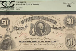 1861 $50 Obsolete Currency Confederate States Of America Choice About U 58