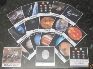 Picture and word flash cards, Planets / solar system. All actual pictures 10x10
