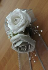 Wedding flowers wrist corsage white/silver grey rose & button hole white rose