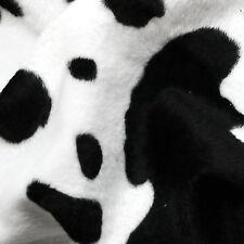 Black & White Cow Print Velboa Faux Fur Fabric (Per Metre)