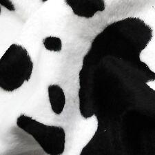 Black & White Cow Print Velboa Faux Fur Fabric (Per Metre)