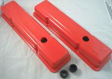 SB Chevy SBC Orange Coated  Short  Valve Covers 283 327 350 400 W/ Grommets V8